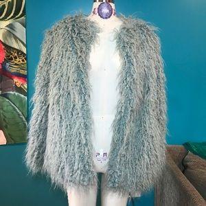 Pale blue/gray faux curly fur jacket